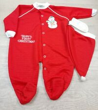 VINTAGE 1990'S BABYGRO INFANT BABY'S FIRST CHRISTMAS SLEEPWEAR - 12M