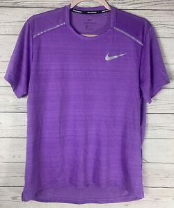 Nike Men's T-Shirt Miler Breathe Running Training Purple CU0326-505 Reflective M