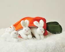 Three Textile Bunny Rabbit Family in Carrot Purse Pencil Case Soft Toy Woven New