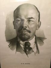 Authentic Rare Soviet Russian USSR Propaganda Lenin Portrait Large Poster