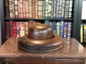 ANTIQUE VINTAGE WOOD BLOCK MOLD MILLINERY HAT FORM 2 PIECES