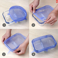 6X Reusable Silicone Food Fresh Keeping Sealing Stretch Lid Container Cover .^;