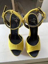 Authentic GIUSEPPE ZANOTTI Yellow Suede Sky High Heels in size 36,5