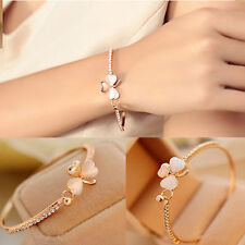 Fashion Women Crystal Flower Gold Plated Charm Cuff Bangle Bracelet Jewelry Gift