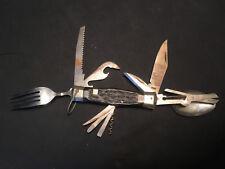 Multi-tool Camping Pocket Knife, Can Opener, Fork, Spoon, Corkscrew, File Japan