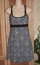 NWT Lola By AFG XS Athletic Style Dress Built In Shelf Bra Black White Floral