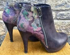* REFRESH * Women's Zip Up Floral Back Print Heeled Leather Ankle Boots UK 5