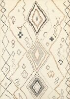 IVORY Geometric Tribal Moroccan Oriental Area Rug Hand-knotted Wool 6x7 Carpet