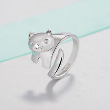 Open Adjustable Panda Design Finger Ring Cat Ear Silver Plated Ring Women Gifts