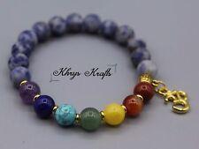 7 Chakra Healing Balance Beaded Yoga Bracelet with Gold Om Charm