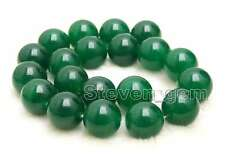 20mm Green Round Natural Jade Loose Bead for Jewelry Making Necklace Strand 15''