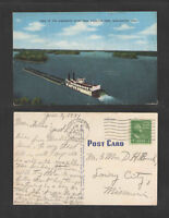 1951 VIEW OF THE MISSISSIPPI RIVER FROM MOSQUITE PARK BURLINGTON IOWA POSTCARD