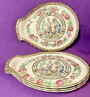 4 Rare vintage Aynsley  Luncheon Plate Indian Tree Plate With Cup Holder Ring