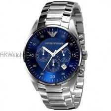 NEW EMPORIO ARMANI BLUE DIAL CHRONOGRAPH STAINLESS STEEL MENS WATCH AR5860