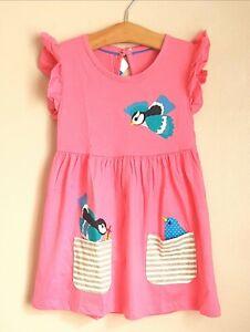 BNWT Pink Applique Blue Bird White Stripe Pocket Dress 3-4 Years Post Next Day