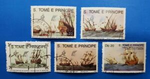 Saint Thomas and Prince Stamps, Scott 891-895 Complete Set CTO's Non-Hinged