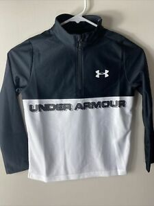 Under Amour Boys Heatgear Tech 1/2 ZIP Color Block Pullover Black/White YXS SZ 7