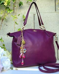 RARE Coach 36591 LARGE KELSEY crossbody satchel purse handbag PLUM purple bag