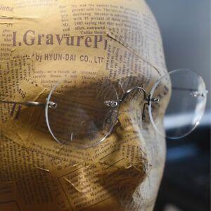 Rimless Steve Jobs round titanium eyeglasses mens gray loop circle RX glasses
