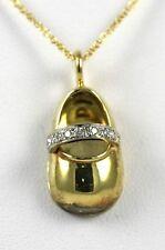 Baby Shoe Pendant 18k Yellow Gold with 0.10ct of Diamonds