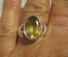 Sterling Silver, Starborn Creations Oval Faceted Citrine Ring, 6 karats sz 8