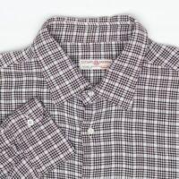 Luciano Barbera Mens Shirt XL Brown Black Light Gray Plaid Cotton Wool Button