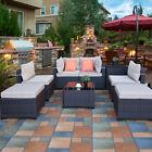 8pc Patio Pe Rattan Wicker Sets Sectional Sofa Poolside Outdoor Garden Furniture