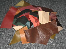 LEATHER SCRAPS & OFF CUTS ALL SHAPES AND SIZE 90g MIXED COLOURS