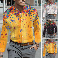 Men Long Sleeve Vintage Floral Shirts Holiday Beach Hippy Tops Button Down Tops