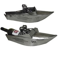 Novelty Couple Sam and Lee Racing Boat Wine Bottle Holder Stand Recyclable Metal