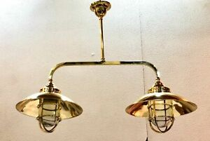 Nautical Ship Marine New Solid Brass Hanging Retro Light with Shade Twins 1 Pcs