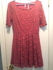 Pink Lauren Conrad LC Sz 8 Polka Dot Sheer Overlay Dress elbow Sleeve Lined Cute