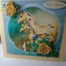 Handmade 3D pretty horse mare and foal birthday card with envelope