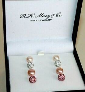 R.H. Macy's & Co Jewelry earrings sterling silver natural pearls set of 4