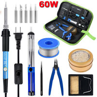 Electric Soldering Iron Kit Welding Tool Soldering Tips Cleaner Station Wire 60W