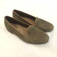 Stubbs & Wooton Womens 8 Olive Beige Woven Slipper Slip On Loafers