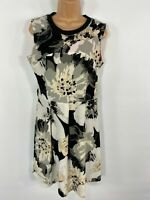 WOMENS NEXT WHITE & BLACK FLORAL SLEEVELESS SMART SUMMER FIT&FLARE DRESS UK12/14