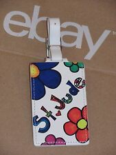 TUMI St Jude Children's Research Hospital White Floral Leather Luggage Tag HTF