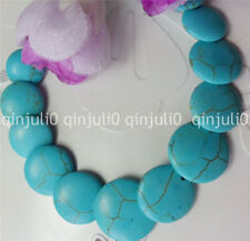 "Natural Blue Turkey Turquoise Gemstone Coin Beads Necklace 18"" JN2198"