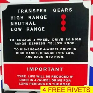 Land Rover series # 1 2 3 instruction plate for transfer gears and 4 RIVETS FREE