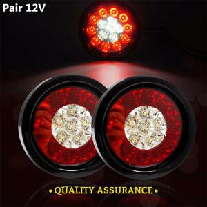 2x 4''Round LED Taillights 12V Stop Brake Running Reverse Backup Light For Truck