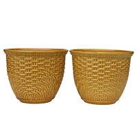 Vintage Haeger Boho Chic Porcelain Basket Weave Jardiniere Planter - a Pair