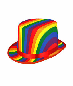 Unisex Rainbow Topper Hat Gay Pride Hat LGBT Fancy Dress Costume Party Accessory