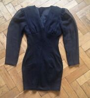 VINTAGE EIGHTIES 80's RUCHED BODYCON LITTLE BLACK DRESS MEDIUM (FITS UK 8 TO 10)