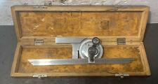 Vis 12 Beam Protractor Angle Finder Machinist Lathe Original Wood Box Used