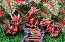 Miniature Fairy Garden Set of 3 Reddish & Gold Dragons - Buy 3 Save $5