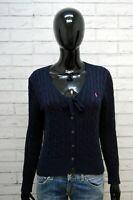 Maglione Donna Ralph Lauren Taglia M Cardigan Felpa Sweater Pullover Cotone Blu