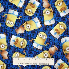 Disney Pixar Fabric - Egyptian Minion Toss Dark Blue - Quilting Treasures YARD