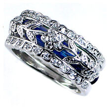 DESIGN REPLICA_RING SET_FLORAL VINE_CZ / NAVY BLUE ENAMEL_SZ-8__925 Silver_NF