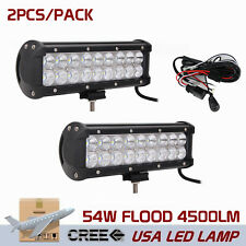 2X 9inch 54W Cree LED Work Light Bar Flood Offroad Driving ATV+Wiring Harness